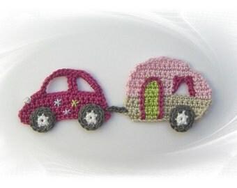 crochet applique caravan, caravan application, crochet, patch auto