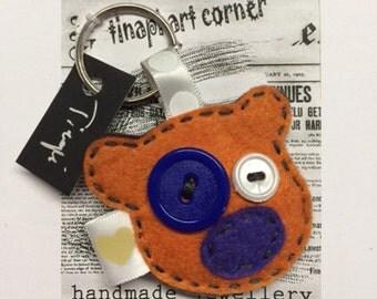 Cute orange Teddy Bear made of felt key chain ring ! Handmade