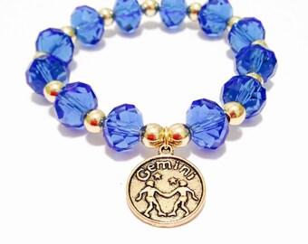 Gemini Bracelet - Beaded Gemini Bracelet - Elastic Gemini Bracelet - Zodiac Bracelet - Gold Gemini Charm - Zodiac Jewelry - Gemini Jewelry