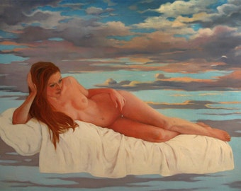 """Painting female nude, surreal. Erotic figurative painting. Oil on canvas. Painting large-format. """"The triangle'"""""""