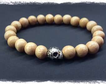 Rosewood and Silver Skull Beaded Bracelet