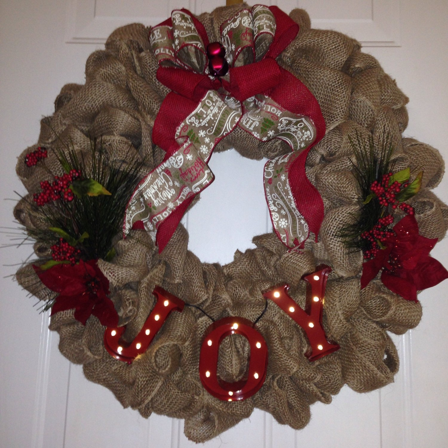 Burlap christmas wreath with marquee letters by for Alphabet christmas wreath