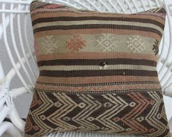 """pastel striped kilim 16"""" x 16 bohemian pillow case 16x16 creation kilim pillow throw pillow cushion hippie pillow embroidery  pillow 405"""