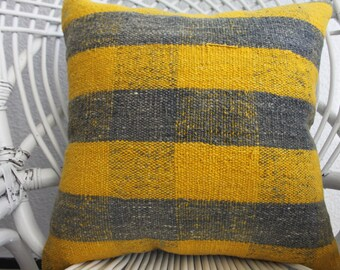 Striped Kilim Pillow Yellow and black Pillow Natural Pillow Decorative Kilim Pillow Home Decor Cushion Covers Turkish Kilim Pillow 917