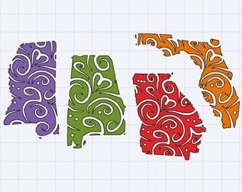 State Decals-Georgia, Alabama, Mississippi, Florida Decal - Sticker