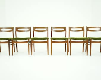 306-054 Danish Mid Century Modern 6 Teak Dining Side Chairs