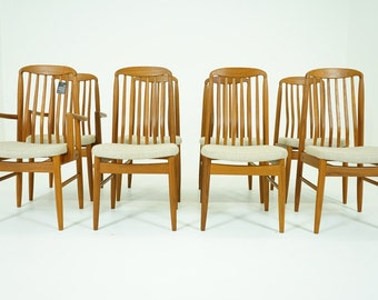 D102 Danish Mid Century Modern 8 Teak Dining Chairs