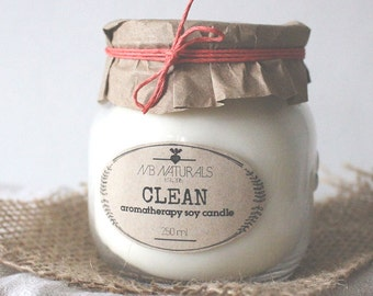 Clean, Aromatherapy Soy Candle
