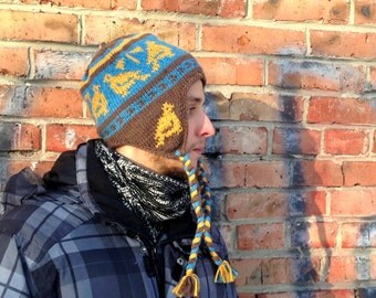 Backpacker's Hat Earflap Knitted Winter Hat for Men