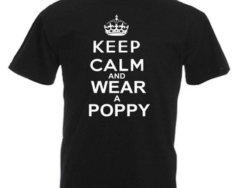 Poppy Adults Mens Black T Shirt Sizes From Small - 3XL