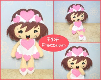 Valentine Girl Felt Doll Pattern - PDF Pattern - For Sewing Kawaii Felt Plush Toy Cute Character Doll