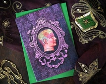 Vintage Victoriana, Medical Get Well Soon greeting card - ornate design - purple phrenology head - blank inside, printed on recycled card.