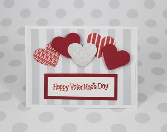 Valentine's Day Red & Grey Hearts Card
