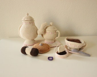 Crochet tea set, Amigurumi tea set, Stuffed tea set, Handmade tea set, Plush tea set, Soft tea set, Knitted tea set, Tea set, Ready to ship