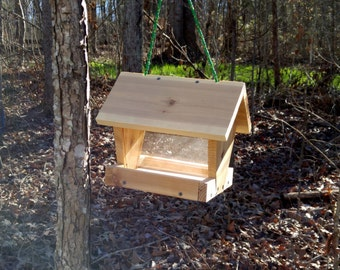 cedar wood bird feeder