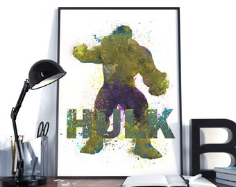 Hulk Prints Kids, Avengers Hulk watercolor art, Hulk Posters, Hulk Kids Art, Baby Boy Nursery decor, Prints for Children's Room.