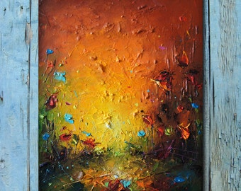 Painting Poppy Oil Painting Modern Abstract Landscape Poppy Field Painting  Original wall art Green Brown Palette knife Painting Home decor