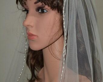 ELBOW BEADING VEIL-1 tier elbow scalloped beading veil, fingertip beading tulle veil, beading edge bridal veil 602