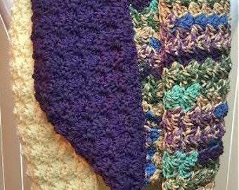 Purple Winter Scarf, Purple Crochet Scarf, Purple Infinity Scarf, Multi Color Scarf, Crocheted Scarf, Color Block Scarf, Gifts for Her