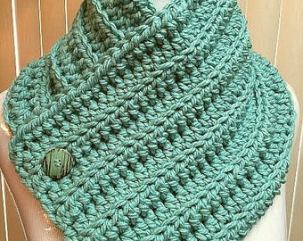 Neck Warmer Scarf, Button Scarf, Neck Warmer Cowl, Crochet Neck Warmer, Button Cowl, Green Scarf, Button Cowl Scarf, Crochet Button Scarf