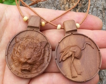 Tiger/Crane/wooden Necklace/Tiger Necklace/Crane Necklace/Animal Necklace/Woodland animal/animal skull/animal sculpt/animal