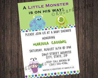 Exceptional Monsters Inc Baby Shower Invitation