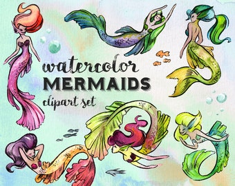 Watercolor Mermaids Clipart Set - INSTANT DOWNLOAD - High Res, PNG, Sirens, Fantasy, Fairy Tale