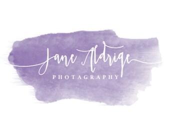 Watercolor Logo, Photography Logo, Girly, feminine Logo, premade logo, custom logo, purple, Watermark