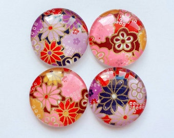 Glass Magnets - Set of 4 Made from Japanese Floral Chiyogami Paper - 30mm Cabochon