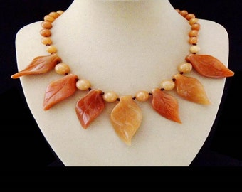 Agate, leaves, beads, necklace, chain, necklace, silver plated clasp