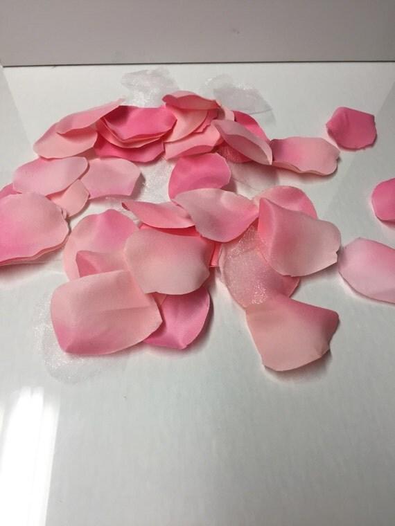 Pink satin rose petals