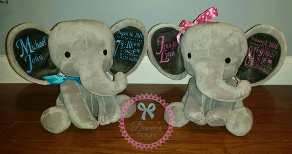 Personalized baby stats elephant baby gifts baby plush – Personalized Baby Announcement Gifts