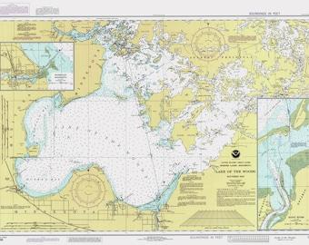 1990 Nautical Map Lake of the Woods Minnesota