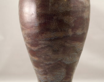 Brown and blue speckled vase