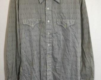 80's vintage all over print dress shirt gray
