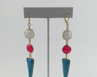 Turquoise and Fuschia Dangle Earrings