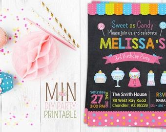 Sweet Shoppe Birthday Invitation, Sweet Shoppe Birthday Party, Candyland Invite, Sweet Shop Invitation
