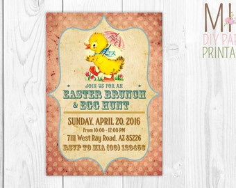 Vintage Easter Invitation 4,Easter Invitation,Easter Egg Hunt, Easter Party, Easter Birthday Party Invitation,Easter Invitation Printable