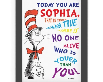 Dr. Seuss Quotes Digital Wall Art Printable, Personalized Name, Books, Today you are You, that is truer than true, Nursery, Kids