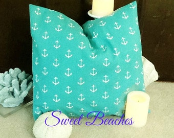 Light Turquoise Anchor  Print  Beach Pillow Covers Seaside Ocean Coastal Nautical Resort Decor