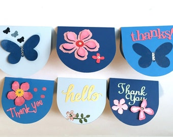 Mini Cards, Set of 6, Thanks, Thank You, Hello, Blank Inside, Gift Tags, Handmade Mini Cards, TwoSistersGreetings