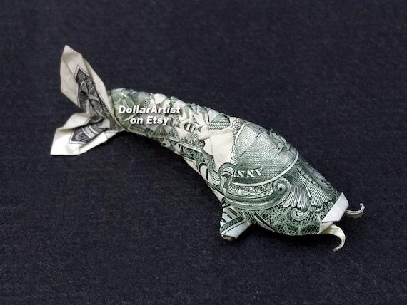 Koi fish money origami dollar bill cash animal fish for Dollar bill koi