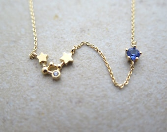 Constellation with birthstone necklace/Zodiac Constellation Necklace/Zodiac-sign,Libra/the Scales (Sep 24 - Oct 22)Necklace with giftbox