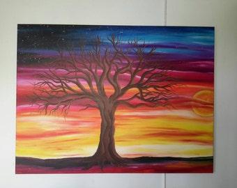 "Original ""Paradise Sunset"" tree abstract painting"