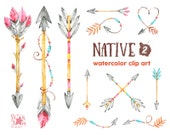 Native 2. Arrows. Watercolor clipart, indian, feathers, american native, tribal, greetings, invitation, diy, wild