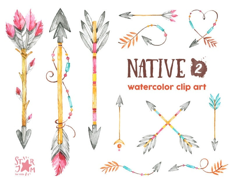 native 2. arrows. watercolor clipart indian feathers