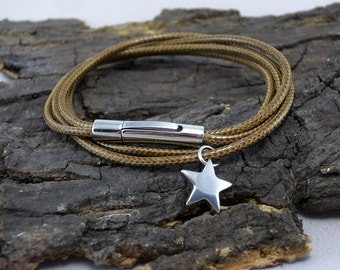 Bracelet star stainless steel lizard reptile crocodile