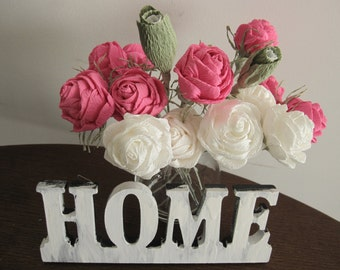 15 pcs, White Pink Green Crepe paper flowers Wedding Table Centerpices Home Decorations