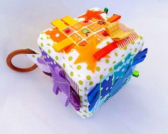 Fabric Baby Cube, Busy Block, Quiet book, Rainbow, Geometric, Colours, Organic, Activity Soft Block, Colourful, Bright, Sensory Toys