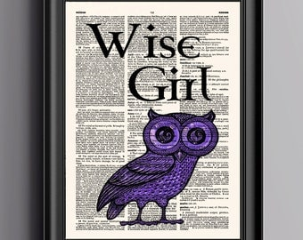 Percy Jackson,Wise Girl,Owl Print,Dictionary Print,Wall Art Print,Wall Decor Print,Mark Of Athena,Wall Decor Print,Wall Art,053